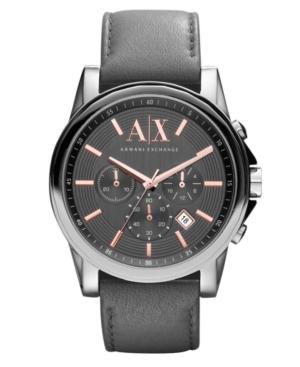 AX Armani Exchange Watch, Men's Chronograph Gray Leather Strap 45mm AX2089