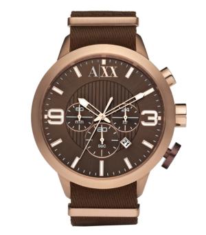 AX Armani Exchange Watch, Men's Chronograph Brown Nylon Strap 48mm AX1151
