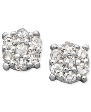 Diamond Earrings, 14k White Gold Diamond Cluster Stud Earrings (1/10 ct. t.w.)
