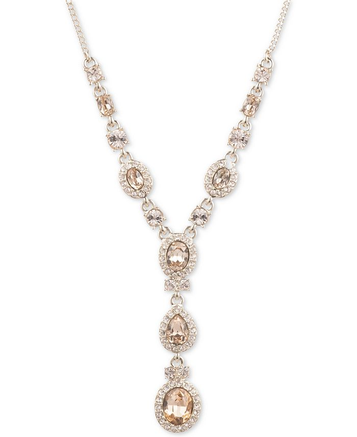 "Givenchy - Crystal Lariat Necklace, 16"" + 3"" extender"