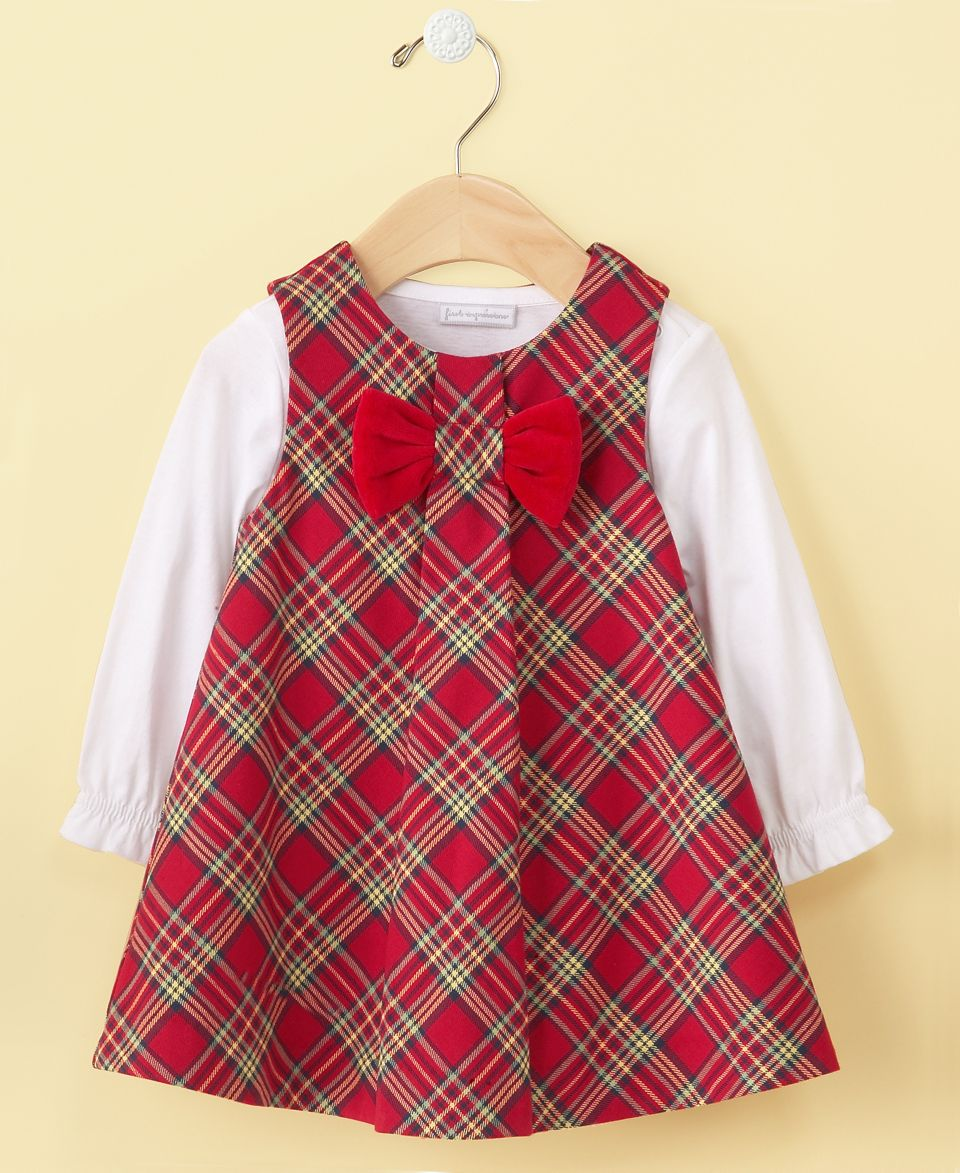 First Impressions Babys First Christmas Dress, Baby Girls Plaid Jumper Dress   Kids