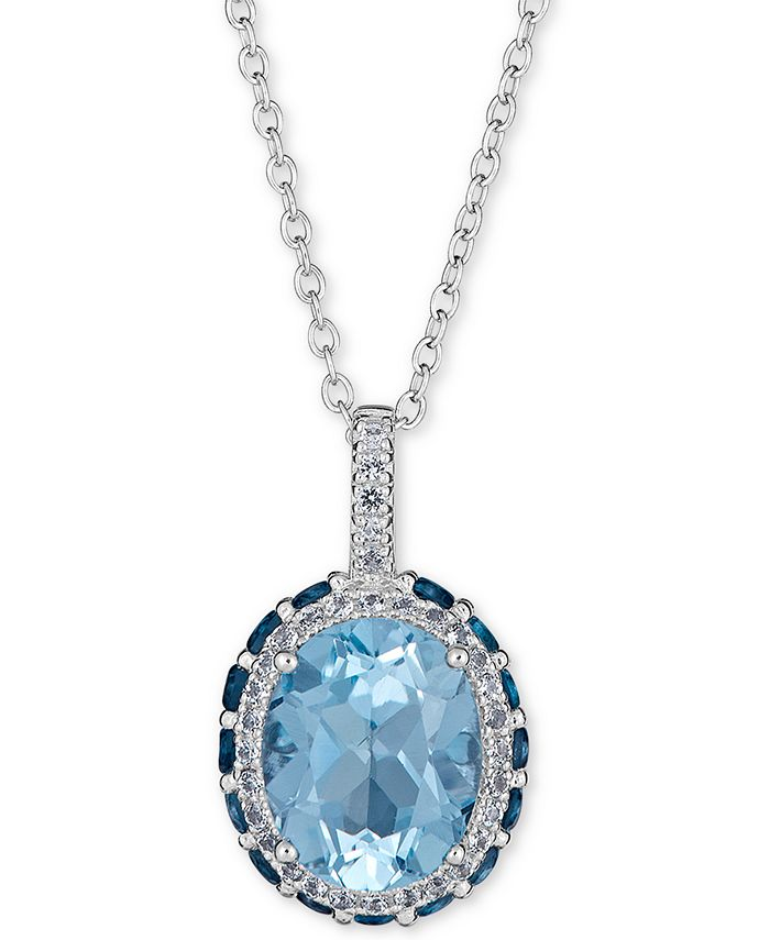 """Macy's - Blue Topaz (2-1/3 ct.t.w) & White Topaz (1/6 ct. t.w.) Pendant Necklace, 16"""" + 2"""" extender in Sterling Silver"""