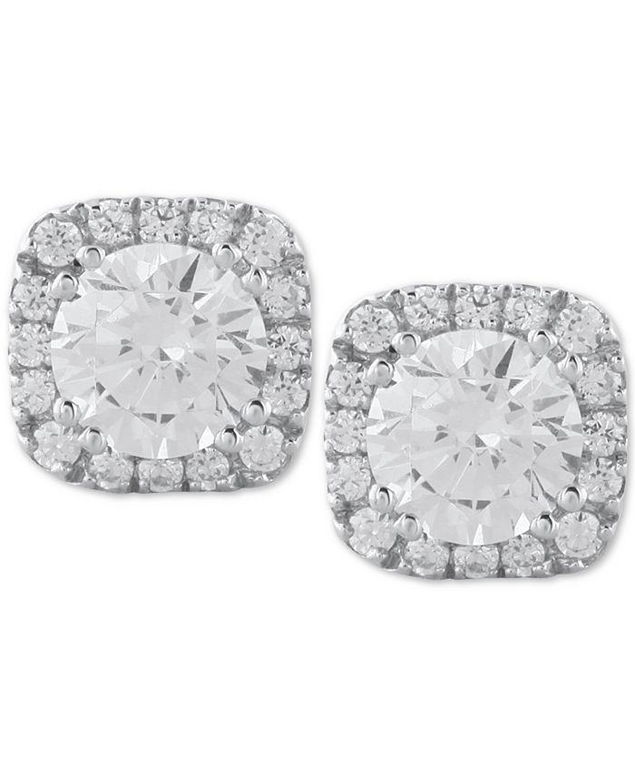 Macy's - Diamond Halo Stud Earrings (1/2 to 1 ct. t.w.) in 14k White Gold