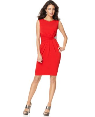 Ellen Tracy Dress, Sleeveless Beaded Faux Wrap Sheath