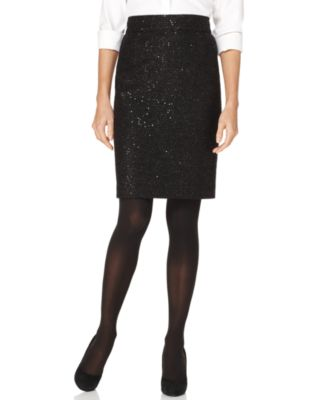 Calvin Klein Petite Skirt, Sequin Tweed Pencil