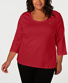 Tommy Hilfiger Plus Size Cotton 3/4-Sleeves Top