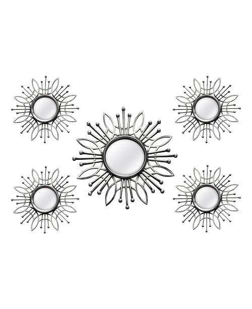 Stratton Home Decor Stratton Home Decor 5 Piece Silver Burst Wall Mirror Reviews All Mirrors Home Decor Macy S