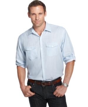 Calvin Klein Big and Tall Shirt, Striped Roll Tab Shirt