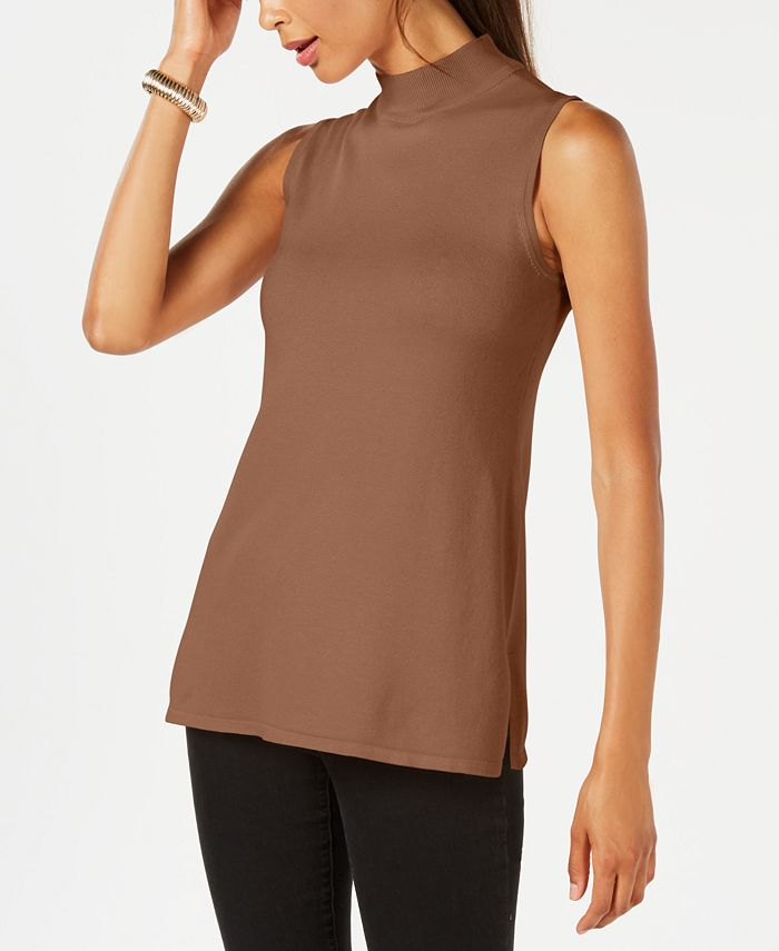 JM Collection - Sleeveless Mock-Turtleneck Sweater