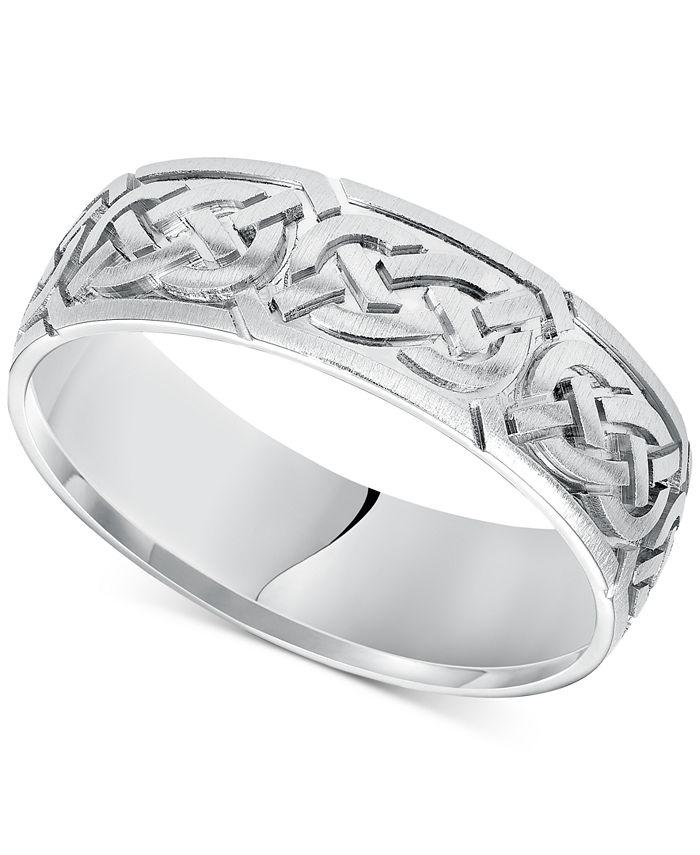 Macy's - Celtic Wedding Band in 14k White Gold