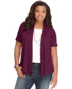 Ing Plus Size Cardigan, Short Sleeve Open Front