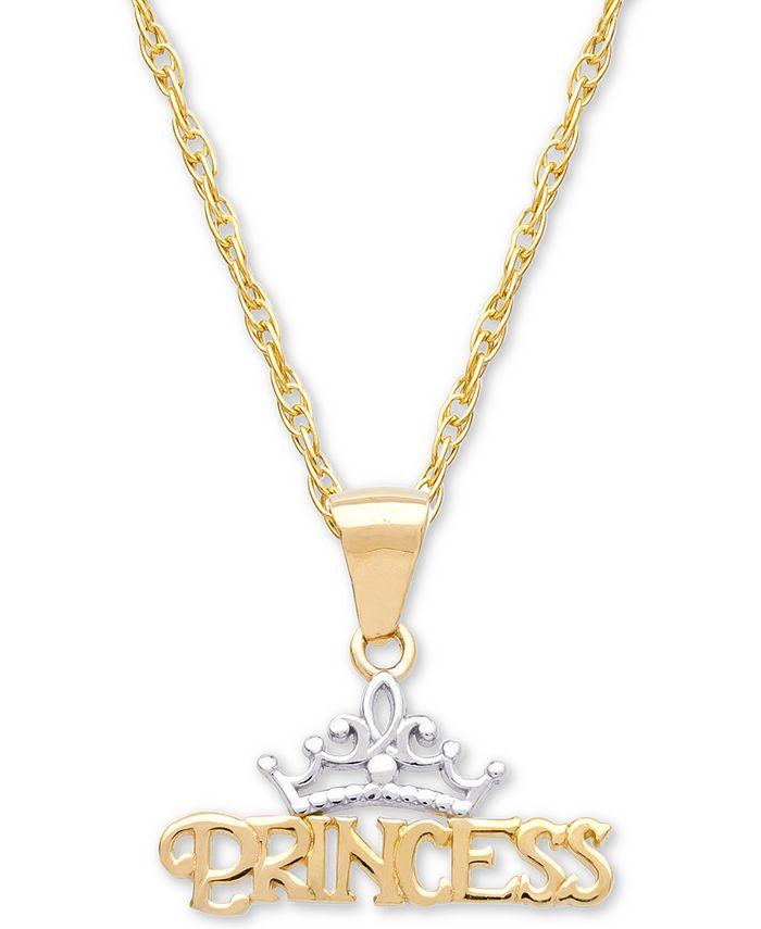 "Disney - Children's Princess Tiara 15"" Pendant Necklace in 14k Gold"