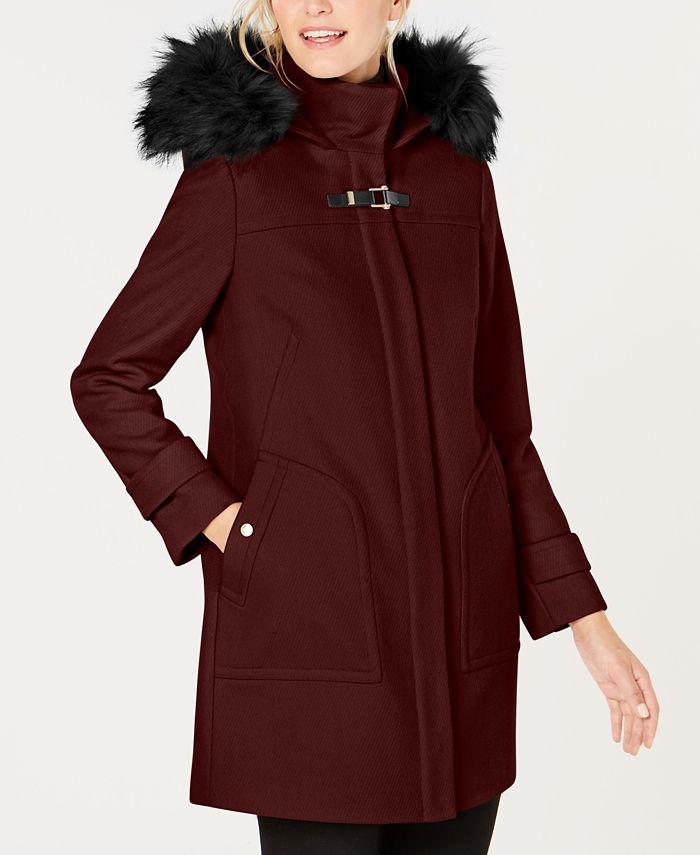 Cole Haan - Faux-Fur-Trim Hooded Coat
