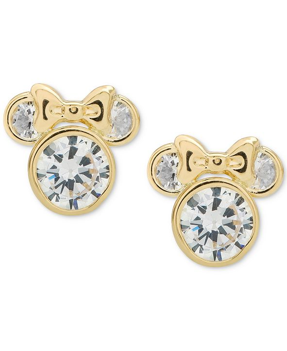 Disney Children's Cubic Zirconia Minnie Mouse Stud Earrings in 14k Gold