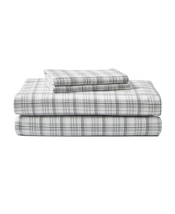 Eddie Bauer - King Plaid Flannel Sheet Set