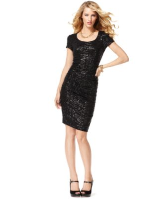 INC International Concepts Dress, Cap Sleeve Scoop Neck Sequin Sheath