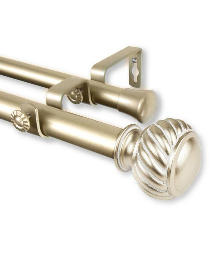 """Rod Desyne - Baldir Double Curtain Rod 1"""" OD 48-84 inch - Light Gold"""
