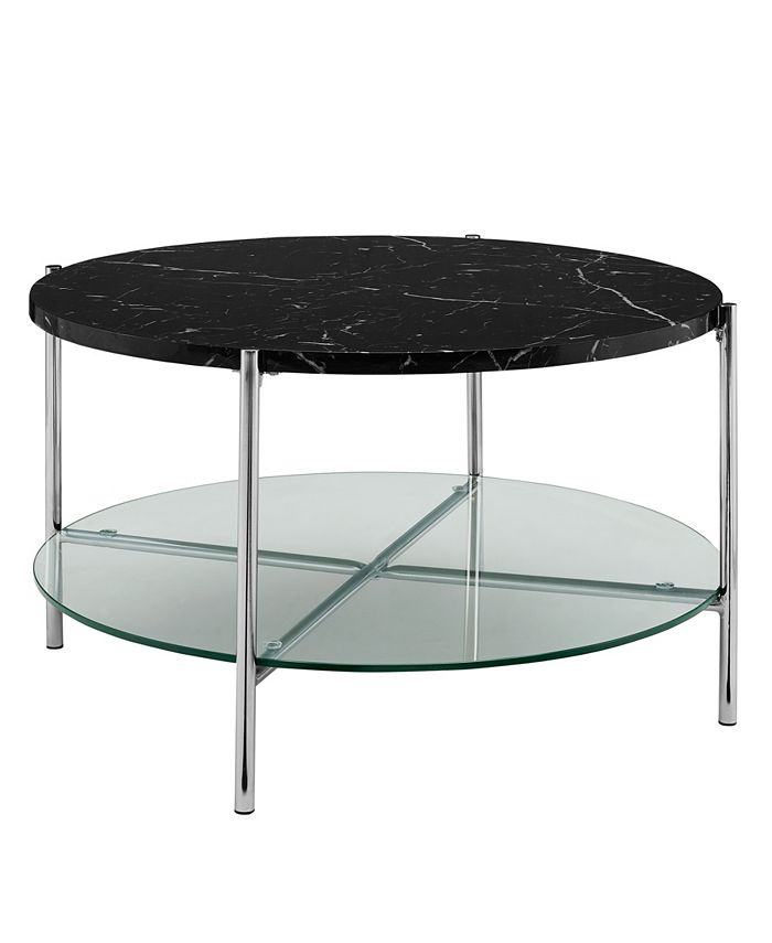 Walker Edison - 32 inch Round Coffee Table in White Faux Marble with Glass Shelf and Chrome Legs