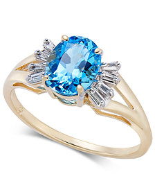 Blue Topaz (1-5/8 ct. t.w.) & Diamond (1/8 ct. t.w.) Ring in 14k Gold