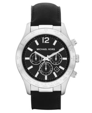 Michael Kors Watch, Men's Chronograph Black Leather Strap 45mm MK8215
