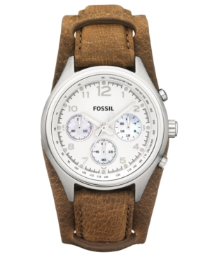 Fossil Watch, Women's Chronograph Flight Tan Leather Strap 38mm CH2795