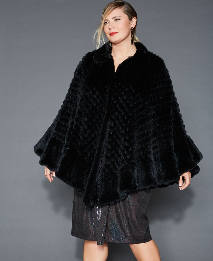 The Fur Vault - Plus Size Knitted Rabbit Fur Poncho