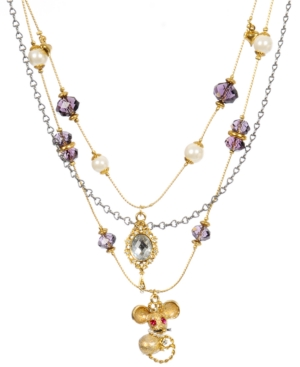 Betsey Johnson Necklace, Mouse Multi Charm Layered Illusion Necklace