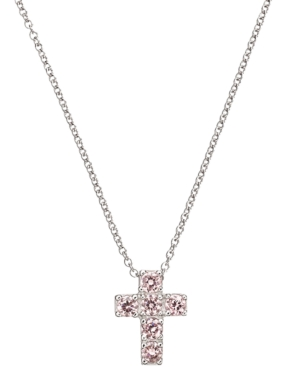 CRISLU Children's Necklace, Platinum over Sterling Silver Pink Cubic Zirconia Cross Necklace (1/3 ct. t.w.)