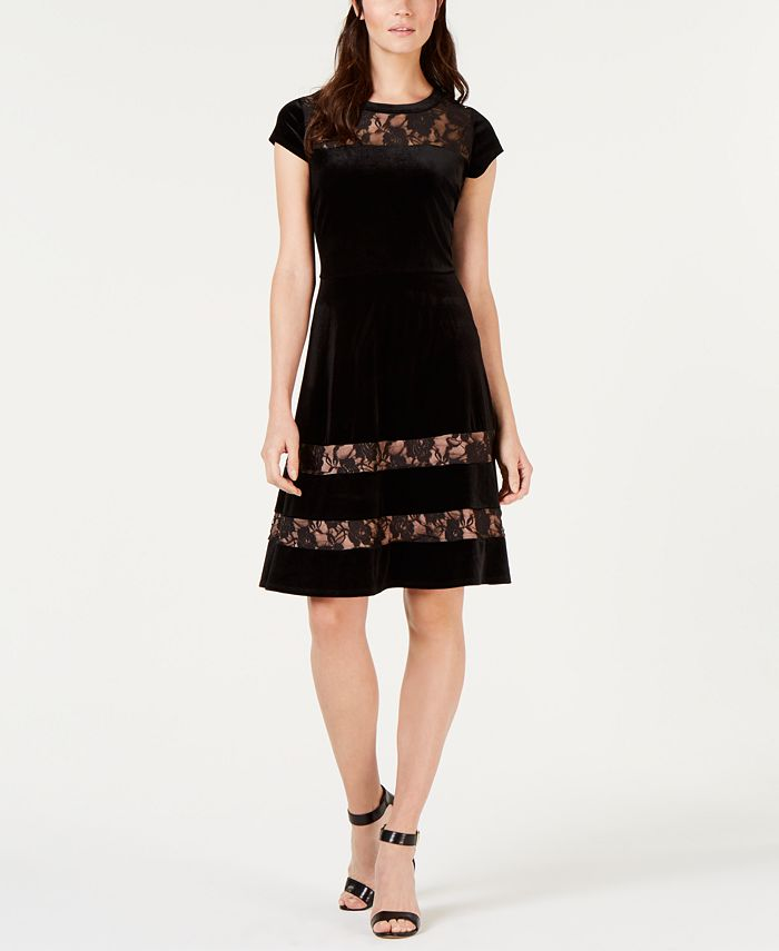 NY Collection - Petite Velvet Lace Fit & Flare Dress