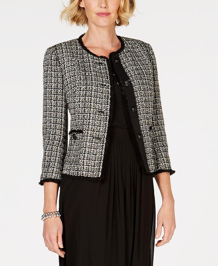 Anne Klein - Fringe-Trim Tweed Jacket