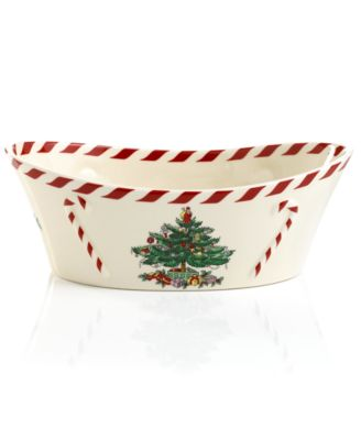 Spode Exclusive Christmas Tree & Peppermint Oval Bowl