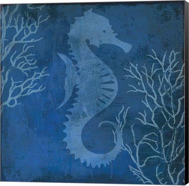 Metaverse Navy Sea Horse By Posters International Studio Canvas Art