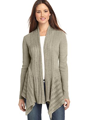 Elementz Sweater, Long Sleeve Pointelle Knit Open Front Cardigan