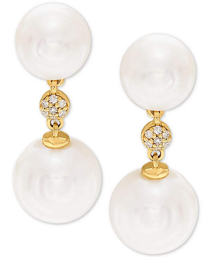Honora - White Cultured Freshwater Pearl (7-1/2mm and 9mm) & Diamond Accent Drop Earrings in 14k Gold