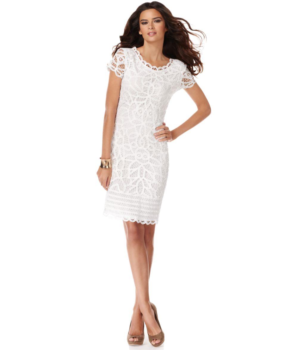 INC International Concepts Dress, Short Sleeve Lace Sheath