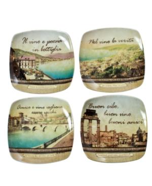 Thirstystone Dinnerware, Set of 4 Italian Inspirations Wine Glass Plates