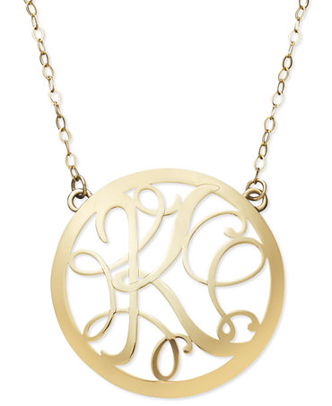 14k Gold Necklace, Letter K Scroll Pendant - Necklaces - Jewelry ...