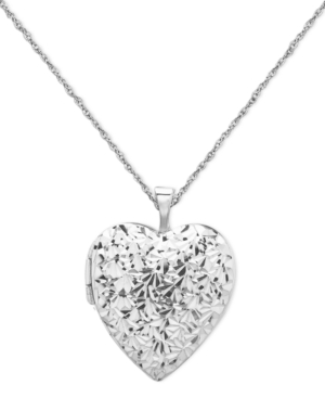 Sterling Silver Necklace, Diamond Cut Heart Locket