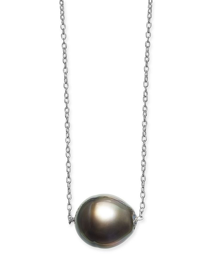 """Macy's - Baroque Cultured Black Tahitian Pearl (11mm) 18"""" Pendant Necklace in Sterling Silver"""