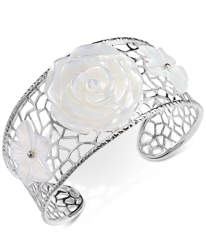 Macy's Mother-of-Pearl Flower Openwork Cuff Bracelet in Sterling Silver & Reviews - Bracelets - Jewelry & Watches - Macy's