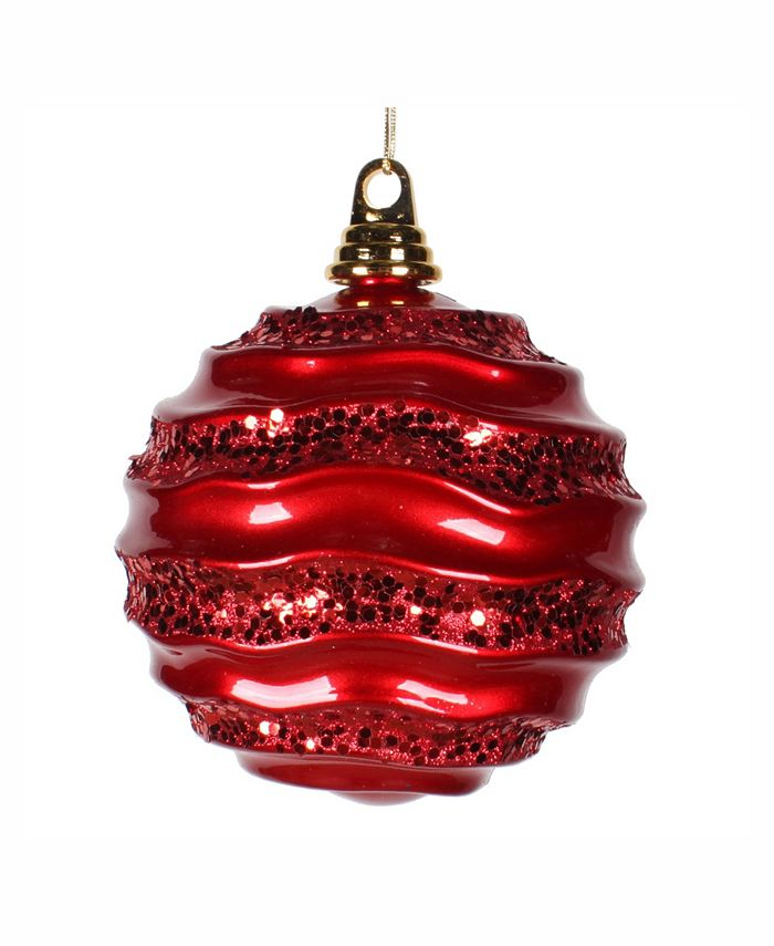 Vickerman 8 Red Candy With Glitter Wave Ball Christmas Ornament Reviews Shop All Holiday Home Macy S