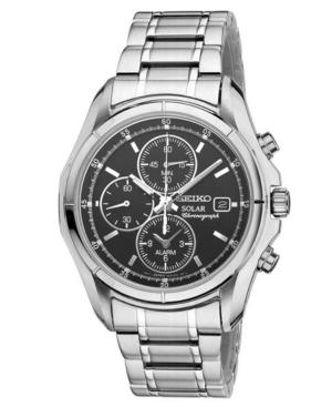 Seiko Watch, Men's Solar Chronograph Stainless Steel Bracelet 39mm SSC001