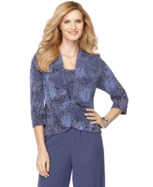 Alex Evenings Jacket & Cami, Three Quarter Sleeve Floral Printed Metallic