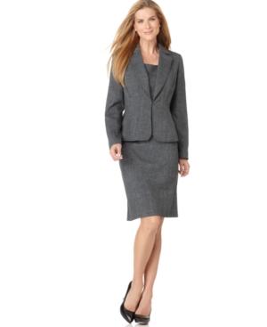 Kasper Suit, Notched Collar Jacket, Sleeveless Cami & Pencil Skirt