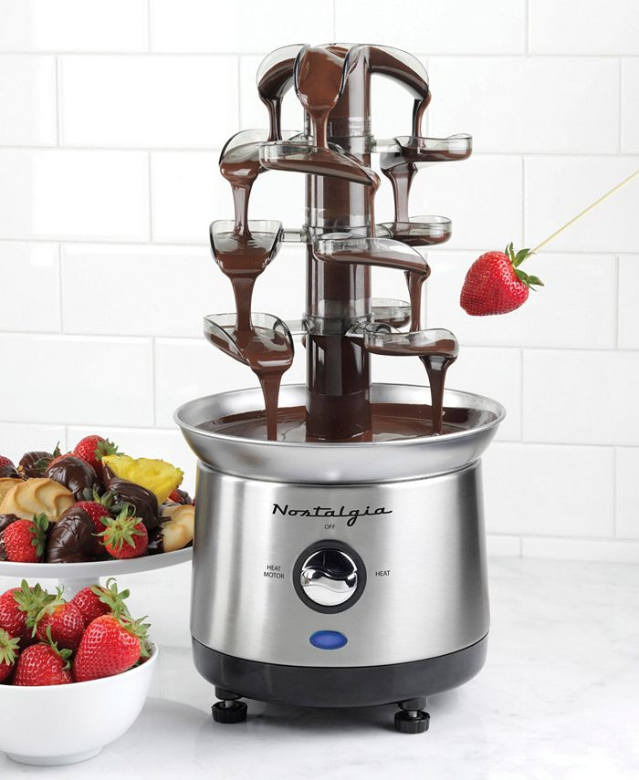 Nostalgia - CFF1000 2-Pound Stainless Steel Cascading Fondue Fountain - Chocolate, BBQ Sauce, Ranch, Nacho Cheese, Buffalo Sauce