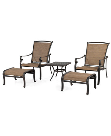 Paradise Outdoor 5 Piece Lounge Set: 2 Adjustable Chairs, 2