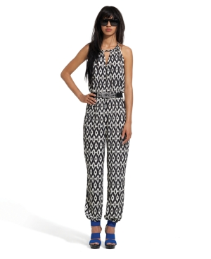 Bar III Jumpsuit, Sleeveless Halter Ikat Print