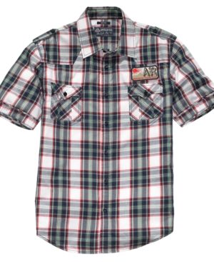 American Rag Shirt, Short Sleeve Western Patch Plaid