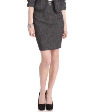 BCX Skirt, Denim Belted High Waist Pencil