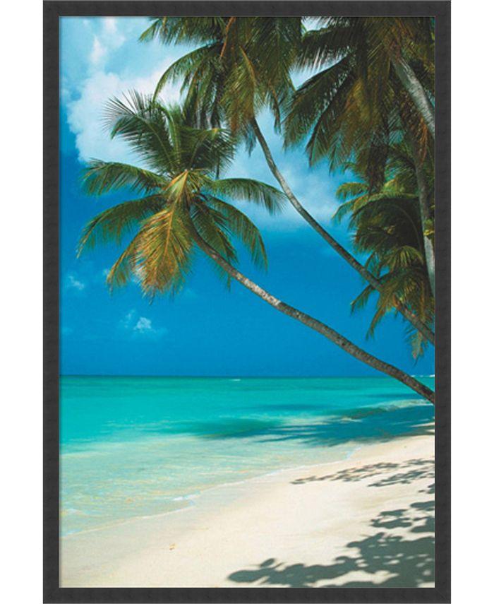 Amanti Art - Tropical Beach (Palm Tree)- 25x37 Framed Art Print